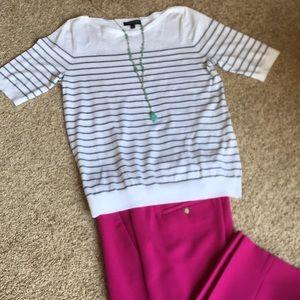 Banana Republic Short Sleeve grey striped sweater